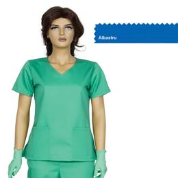 Bluza Dama Guler V Modern Cambrata Prima, albastru, tercot, marime L (46-48)