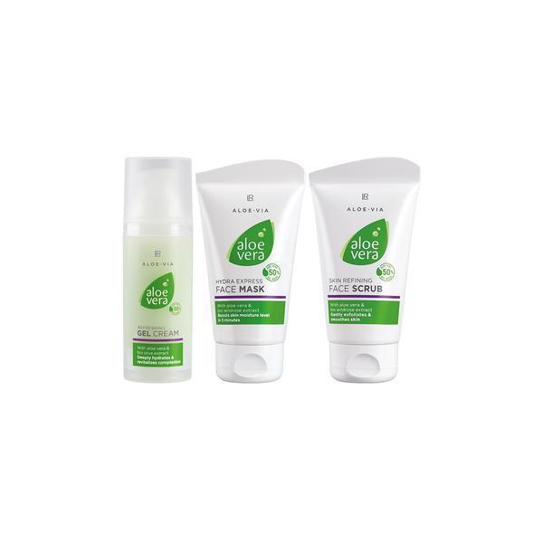 Set cadou de prospeţime Aloe Vera: Exfoliant pentru faţă 75 ml + Gel-cremă hidratant 50 ml + Mască hidratantă Express 75 ml - Lr Health & Beauty