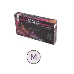 Manusi latex pudrade talc M – 50 buc, negre – Roial Italia de la esteto.ro