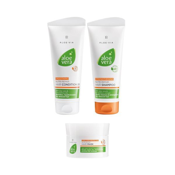 Set cadou îngrijirea părului Nutri Repair Hair Conditioner 200ml + Nutri Repair Hair Shampoo 200ml+ Nutri Repair Hair Shampoo Mask 200ml - LR Aloe Vera