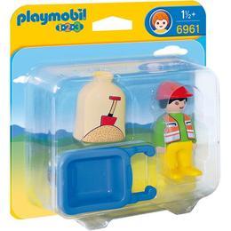 Playmobil 1.2.3. Muncitor Cu Roaba