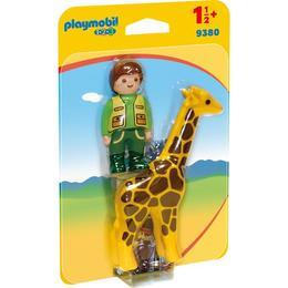 Playmobil 1.2.3 - Ingrijitor Zoo Cu Girafa