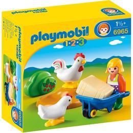 Playmobil 1.2.3 - Fermiera Cu Gaini