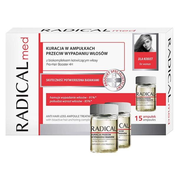 Tratament Fiole Impotriva Caderii Parului pentru Femei - Farmona Radical Med Anti Hair Loss Ampoule Treatment for Women, 15 x 5ml