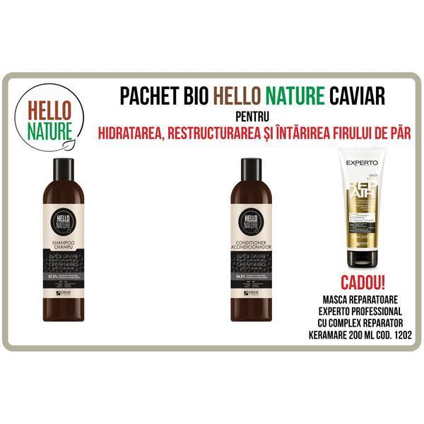 Pachet BIO Hello Nature cu caviar pentru hidratarea, restructurarea si intarirea firului de par ( sampon + balsam )