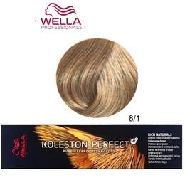 Vopsea Crema Permanenta – Wella Professionals Koleston Perfect ME+ Rich Naturals, nuanta 8/1 Blond Deschis Cenusiu de la esteto.ro