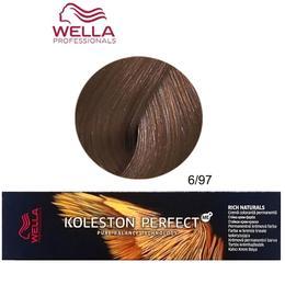 Vopsea Crema Permanenta - Wella Professionals Koleston Perfect ME+ Rich Naturals, nuanta 6/97 Blond Inchis Albastru Maro