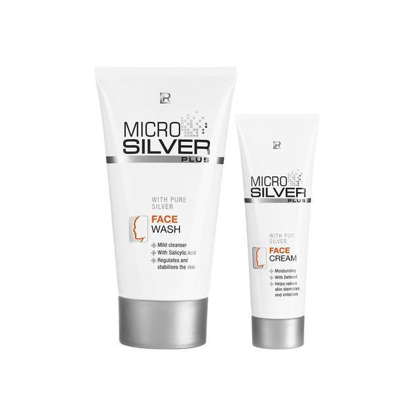 Pachet promo - Set de faţă Microsilver Plus ( crema curatare 100 ml + crema fata 50 ml ) LR