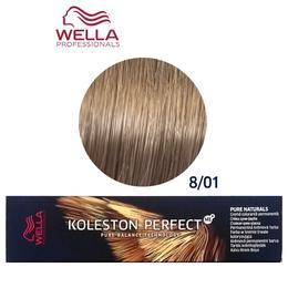 Vopsea Crema Permanenta – Wella Professionals Koleston Perfect ME+ Pure Naturals, nuanta 8/01 Blond Deschis Natural Cenusiu de la esteto.ro