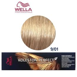 Vopsea Crema Permanenta - Wella Professionals Koleston Perfect ME+ Pure Naturals, nuanta 9/01 Blond Luminos Natural Cenusiu