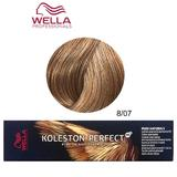 Vopsea Crema Permanenta - Wella Professionals Koleston Perfect ME+ Pure Naturals, nuanta 8/07 Blond Deschis Castaniu Natural