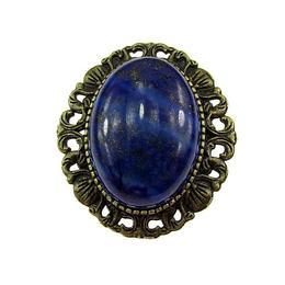 Brosa/pandantiv bronz antic cu lapis lazuli natural, GlamBazaar, 3.3 x 3 cm, cu Lapis Lazuli, Albastru, tip Brosa handmade