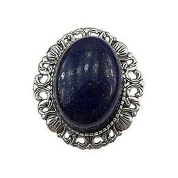 Brosa/pandantiv argintiu antic cu lapis lazuli natural, GlamBazaar, 3.3 x 3 cm, cu Lapis Lazuli, Albastru, tip Brosa handmade