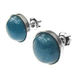 Cercei argint cu acvamarin 10 MM, GlamBazaar, 11 mm, cu Acvamarin, Bleu, tip cercei de argint 925 cu pietre naturale