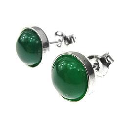 Cercei argint cu agate verzi 8 MM, GlamBazaar, 9 mm, cu Agate, Verde, tip cercei de argint 925 cu pietre naturale
