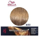 Vopsea Crema Permanenta - Wella Professionals Koleston Perfect ME+ Pure Naturals, nuanta 8/03 Blond Deschis Auriu Natural