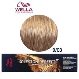 Vopsea Crema Permanenta - Wella Professionals Koleston Perfect ME+ Pure Naturals, nuanta 9/03 Blond Luminos Auriu Natural
