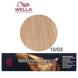 Vopsea Crema Permanenta - Wella Professionals Koleston Perfect ME+ Pure Naturals, nuanta 10/03 Blond Luminos Deschis Auriu Natural