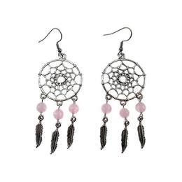 Cercei candelabru Dreamcatcher cu cuart roz natural, GlamBazaar, 8 cm x 2.8 cm, cu Cuart roz, Roz, tip cercei candelabru cu pietre naturale