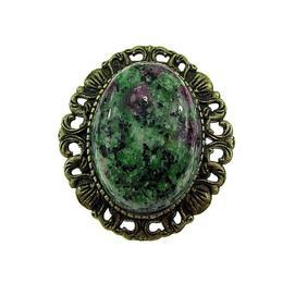 Brosa/pandantiv bronz antic cu rubin zoisit natural, GlamBazaar, 3.3 x 3 cm, cu Rubin zoisit, Verde, tip Brosa handmade