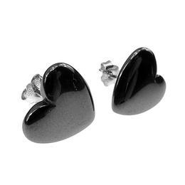 Cercei inimioare hematit cu argint, GlamBazaar, 12 mm, cu Hematit, Gri, tip cercei de argint 925 cu pietre naturale