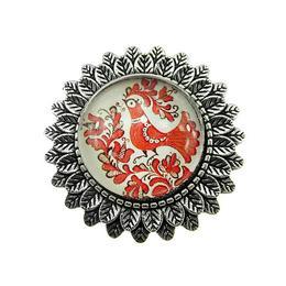 Brosa argintiu antic model folcloric cuc rosu, GlamBazaar, 3.3 cm, cu Fara pietre, Rosu, tip Brosa handmade