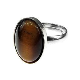 Inel argint reglabil cu ochi de tigru natural 14x10 MM, GlamBazaar, Reglabila, cu Ochi de tigru, Maro, tip inel reglabil de argint 925 cu pietre naturale