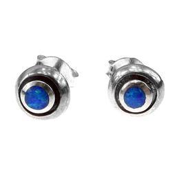 Cercei argint bumb cu opal imperial 6 MM, GlamBazaar, cu Opal, Albastru, tip cercei de argint 925 cu pietre naturale