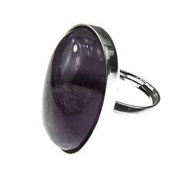 Inel argint reglabil masiv cu ametist chevron 25x18 MM, GlamBazaar, Reglabila, cu Ametist, Mov, tip inel reglabil de argint 925 cu pietre naturale
