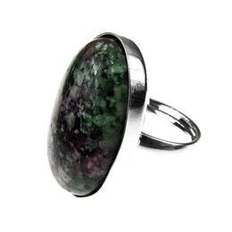 Inel argint reglabil masiv cu rubin zoisit 25x18 MM, GlamBazaar, Reglabila, cu Rubin zoisit, Verde, tip inel reglabil de argint 925 cu pietre naturale