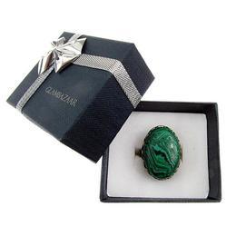 Inel aliaj reglabil masiv cu malachit 25x18 MM, GlamBazaar, Reglabila, cu Malachit, Verde, tip inel din aliaj metalic reglabil cu pietre naturale
