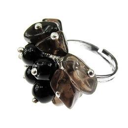 Inel reglabil aliaj mix cuart fumuriu si agat negru, GlamBazaar, Reglabila, cu Agate, Negru, tip inel din aliaj metalic reglabil cu pietre naturale