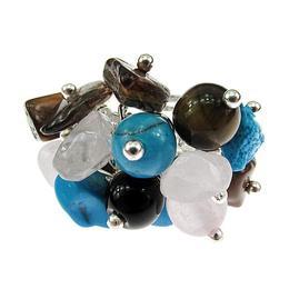 Inel reglabil aliaj mix pietre semipretioase, GlamBazaar, Reglabila, cu Turcoaze, Cuart roz, Ochi de tigru, Multicolor, tip inel din aliaj metalic reglabil cu pietre naturale