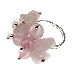 Inel aliaj reglabil cu pietre cuart roz, GlamBazaar, Reglabila, cu Cuart roz, Roz, tip inel din aliaj metalic reglabil cu pietre naturale
