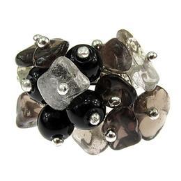 Inel reglabil aliaj mix cuart fumuriu, cuart de stanca si agat negru, GlamBazaar, Reglabila, cu Agate, Cuart de stanca, Alb, Negru, tip inel din aliaj metalic reglabil cu pietre naturale