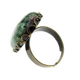 Inel aliaj reglabil masiv cu rubin zoisit 25x18 MM, GlamBazaar, Reglabila, cu Rubin zoisit, Verde, tip inel din aliaj metalic reglabil cu pietre naturale
