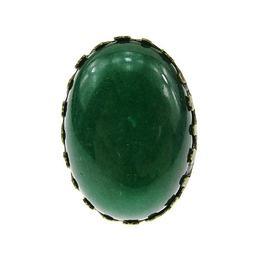 Inel aliaj reglabil masiv cu agata verde 25x18 MM, GlamBazaar, Reglabila, cu Agate, Verde, tip inel din aliaj metalic reglabil cu pietre naturale
