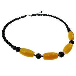 Colier pietre naturale jad miere si onix, GlamBazaar, 53 cm, cu Jad, Onix, Galben, Negru, tip colier handmade cu pietre naturale