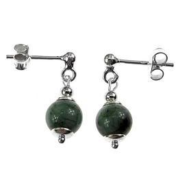 Cercei argint cu smarald natural, GlamBazaar, 1.8 cm x 6 mm, cu Smarald, Verde, tip cercei de argint 925 cu pietre naturale