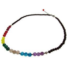 Colier 7 chakre cu onix si agate fatetate, GlamBazaar, 44 cm, cu Agate, Onix, Negru, tip colier handmade cu pietre naturale