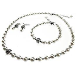 Set clasic perle albe tip Mallorca, GlamBazaar, 42 cm, cu Perle, Alb, tip set bijuterii handmade cu pietre naturale