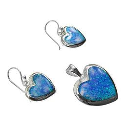Set argint inimioare cu opal imperial, GlamBazaar, cu Opal, Albastru, tip set bijuterii de argint 925 cu pietre naturale