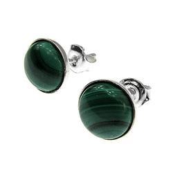 Cercei argint cu malachit natural 8 MM, GlamBazaar, 9 mm, cu Malachit, Verde, tip cercei de argint 925 cu pietre naturale