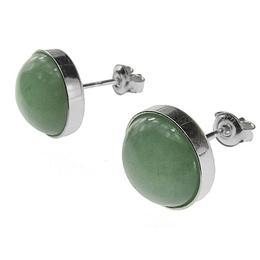 Cercei argint cu aventurin verde natural 10 MM, GlamBazaar, 11 mm, cu Aventurin, Verde, tip cercei de argint 925 cu pietre naturale