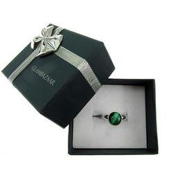 Inel argint reglabil cu malachit natural 8 MM, GlamBazaar, Reglabila, cu Malachit, Verde, tip inel reglabil de argint 925 cu pietre naturale