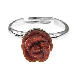 Inel argint reglabil cu trandafir Piatra Soarelui maro, GlamBazaar, Reglabila, cu Piatra Soarelui, Maro, tip inel reglabil de argint 925 cu pietre naturale
