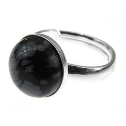 Inel argint reglabil cu obsidian fulg-de-nea natural 10 MM, GlamBazaar, Reglabila, cu Obsidian, Gri, Negru, tip inel reglabil de argint 925 cu pietre naturale