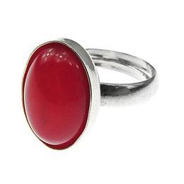 Inel argint reglabil cu agata rosie naturala 14x10 MM, GlamBazaar, Reglabila, cu Agate, Rosu, tip inel reglabil de argint 925 cu pietre naturale