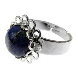 Inel aliaj reglabil model floricica cu lapis-lazuli natural, GlamBazaar, Reglabila, cu Lapis Lazuli, Albastru, tip inel din aliaj metalic reglabil cu pietre naturale
