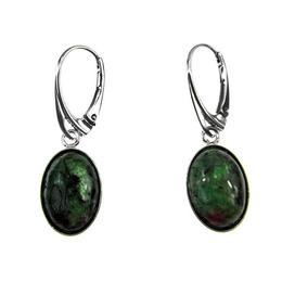 Cercei argint ovali cu rubin zoisit 14x10 MM, GlamBazaar, 3.3 x 1.2 cm, cu Rubin zoisit, Verde, tip cercei de argint 925 cu pietre naturale